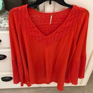 Free people coral NWT ( took off:( ) waffle top